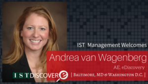 "<span class=""entry-title-primary"">Newest Employee with IST</span> <span class=""entry-subtitle"">Welcome Andrea van Wagenberg, Account Executive for eDiscovery!</span>"