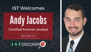 """<span class=""""entry-title-primary"""">Newest Employee with IST</span> <span class=""""entry-subtitle"""">Welcome Andy Jacobs, Certified Forensic Analyst for eDiscovery Collections!</span>"""