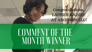 "<span class=""entry-title-primary"">Comment of the Month Winner</span> <span class=""entry-subtitle"">Congratulations, Lauren Rainey at Aronson!</span>"