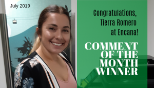 "<span class=""entry-title-primary"">Comment of the Month Winner</span> <span class=""entry-subtitle"">Congratulations Tierra Romero, Conference Room Specialist at Encana!</span>"