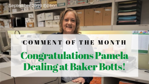 "<span class=""entry-title-primary"">Comment of the Month Winner</span> <span class=""entry-subtitle"">Congratulations Pamela Dealing at Baker Botts, LLP!</span>"