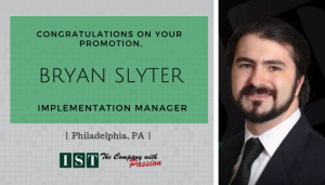 """<span class=""""entry-title-primary"""">New Promotion within IST</span> <span class=""""entry-subtitle"""">Congratulations Bryan Slyter, Promoted to Implementation Manager in Philadelphia, PA!</span>"""