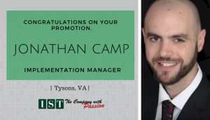 """<span class=""""entry-title-primary"""">New Promotion within IST</span> <span class=""""entry-subtitle"""">Congratulations Jonathan Camp, Promoted to Implementation Manager in Tysons, VA!</span>"""