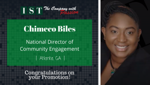 """<span class=""""entry-title-primary"""">Newest Promotion within IST</span> <span class=""""entry-subtitle"""">Congratulations Chimeco Biles, National Director of Community Engagement! </span>"""